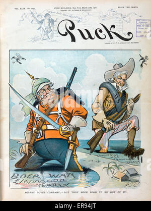 Misery loves company; - but they hope soon to be out of it. Illustration shows John Bull standing up to his knees - Stock Photo