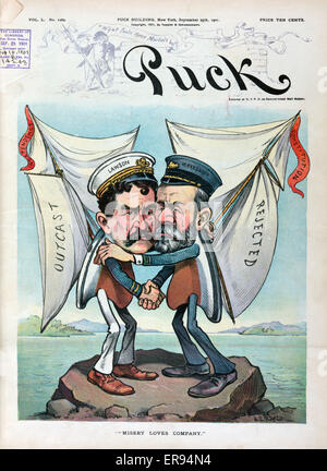 Misery loves company. Illustration shows Thomas W. Lawson with his America's Cup entry Independence and Nathanael - Stock Photo