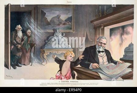 A Christmas reminder. Illustration shows Puck addressing Andrew Carnegie who is pouring over the Plan for the Carnegie - Stock Photo