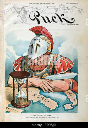 The sands of time. Illustration shows Mars, the Roman god of war, waiting for the establishment of protocols and - Stock Photo