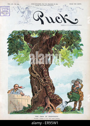 The tree of prosperity. Illustration shows President Theodore Roosevelt pouring water from a large watering can - Stock Photo