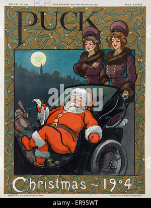 Puck Christmas 1904. Illustration shows Santa Claus reviewing his list, his bag of gifts next to him, while sitting - Stock Photo