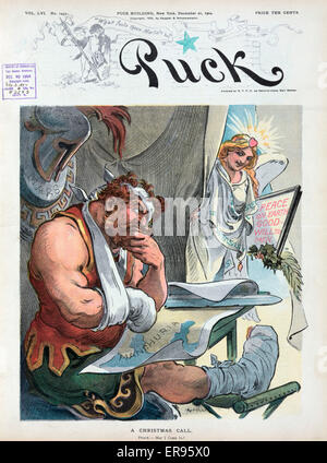 A Christmas call. Illustration shows Mars, the Roman god of war, with bandages on his head, arm, and foot, sitting - Stock Photo