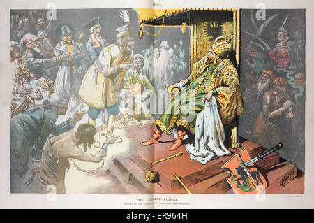 The littlest father. Illustration shows Nicholas II, emperor of Russia, sitting on his throne, at his feet are an - Stock Photo