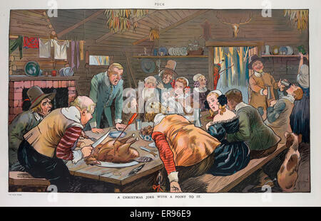 A Christmas joke with a point to it. Illustration shows the interior of a frontier cabin where a long table is set - Stock Photo