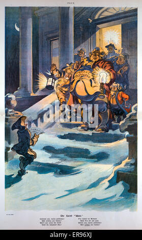 The tariff wait. Illustration shows on a winter's night a small figure labeled Consumer sings Christmas carols at - Stock Photo