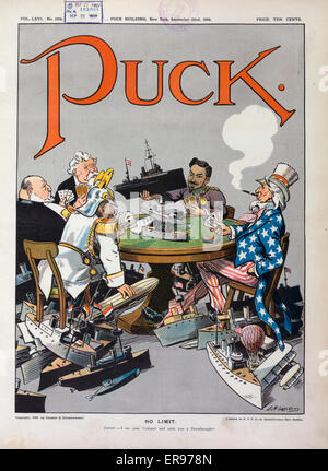 No limit. Illustration shows a high-stakes poker game with Uncle Sam, William II, the German Emperor, Meiji, the - Stock Photo