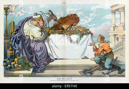 Dives and Lazarus. Illustration shows a fat man labeled Monopoly feasting on a large piece of meat labeled Alaska - Stock Photo