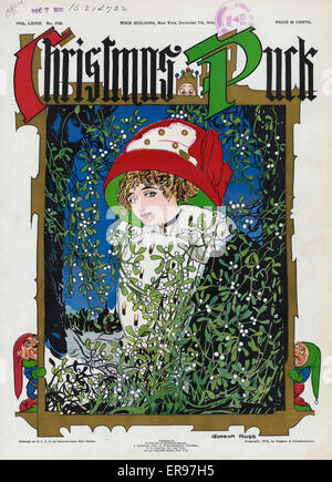 Christmas Puck. Illustration shows a beautiful young woman wearing a large red and green hat, standing among mistletoe, - Stock Photo