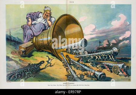 Which clapper?. Illustration shows the Liberty Bell lying on its side in a barren landscape with a large man labeled - Stock Photo