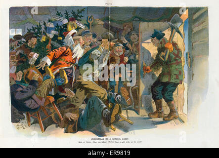 Christmas in a mining camp. Illustration shows a gold miner standing at the door to a cabin telling the miners inside, - Stock Photo