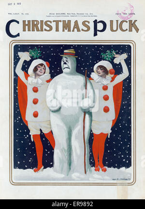 Christmas Puck. Illustration shows an anxious snowman standing between two beautiful young women wearing clown costumes - Stock Photo