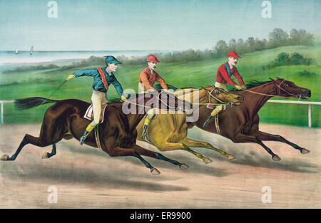 A close lap on the run in. Date 1886. - Stock Photo