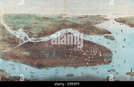 The city of greater New York. Bird's-eye view of greater New York with Battery Park on the right and showing the - Stock Photo