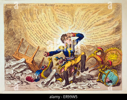 Maniac-raving's-or-Little Boney in a strong fit. Cartoon showing Napoleon in a fury over relations between France - Stock Photo