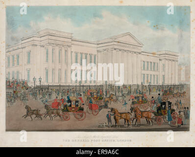 The royal mails departure from the general post office, London. Date 183-(?). - Stock Photo