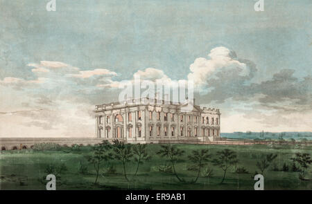 A view of the Presidents house in the city of Washington after the conflagration of the 24th August 1814. View from - Stock Photo