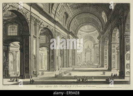 Veduta interna della Basilica di S. Pietro in Vaticano. Print shows a view of the interior of St. Peter's Basilica - Stock Photo