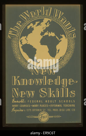 The world wants new knowledge - new skills Enroll - Federal adult schools : Many courses - many places - informal - Stock Photo
