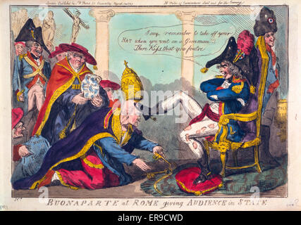 Buonaparte at Rome giving audience in state. Cartoon shows Napoleon, wearing tattered clothing, seated on a low - Stock Photo