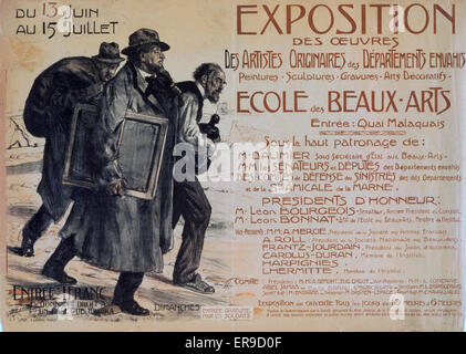 Exposition des oeuvres des artistes originaires des Departements envahis. Ecole des Beaux-Arts. Three artists, the - Stock Photo