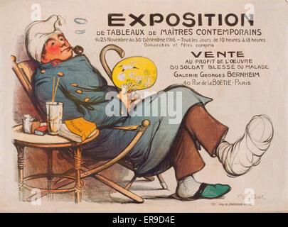 Exposition de tableaux de maitres contemporainsvente au profit de l'oeuvre du soldat blesse ou malade. Galerie Georges - Stock Photo