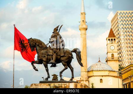 Monument of Skanderbeg in Tirana - Stock Photo