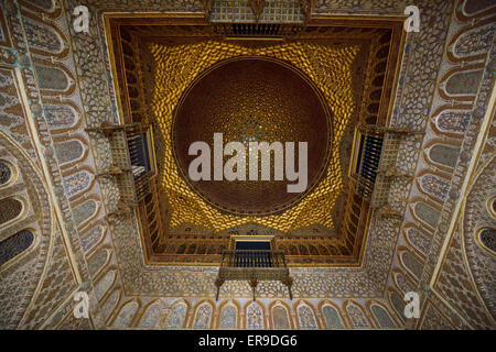 Hall of Ambassadors in the Royal palace of Alcazar Seville Andelusia Spain - Stock Photo