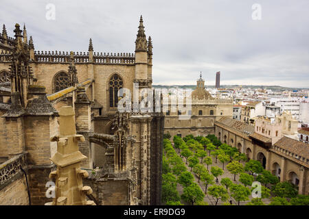View west from Giralda tower Seville cathedral with door of Forgiveness to the Orange Tree Courtyard Stock Photo