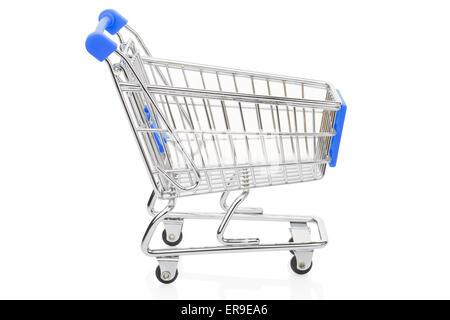 Blue shopping supermarket cart on white - Stock Photo
