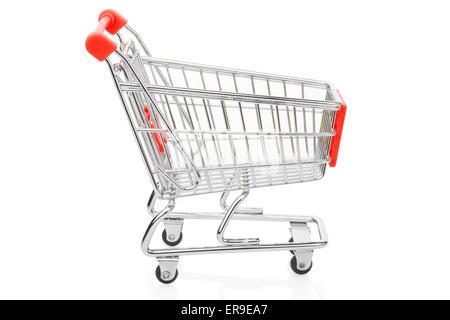 Red shopping supermarket cart on white - Stock Photo