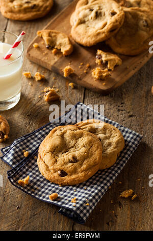 Homemade Chocolate Chip Cookies with Walnuts and Milk - Stock Photo