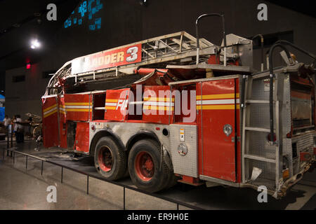 National September 11 Memorial & Museum, Fire Engine from Ladder Company 3 from Ground Zero, New York, New York - Stock Photo