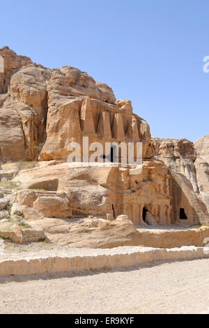 Nabataean caves & sculptures on the way to the ancient city of Petra. - Stock Photo