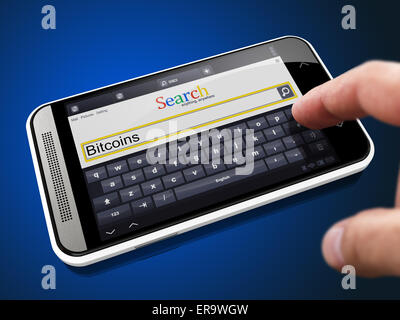 Bitcoins - Request in Search String - Finger Pressing the Button on Modern Smartphone on Blue Background. - Stock Photo