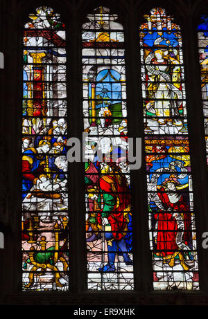 UK, England, Cambridge.  King's College Chapel, Stained Glass Window showing the Circumcision of Jesus. - Stock Photo
