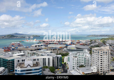 Office buildings and port, Auckland, North Island, New Zealand - Stock Photo