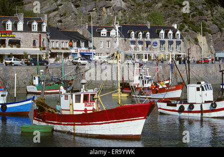 Fishing boats in harbour, Erquy, Cotes D'Armor, Brittany, France, Europe - Stock Photo
