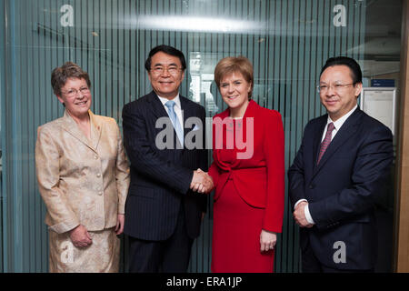 Glasgow, Scotland, UK. 29th May, 2015. Scotland's First Minister, Nicola Sturgeon MSP (centre right), is pictured - Stock Photo