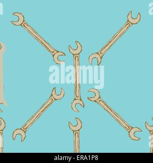 Sketch key tool in vintage style, vector seamless pattern - Stock Photo