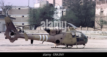 6th March 1991 A British Army Air Corps Gazelle AH.Mk1 helicopter, on the ground, in Kuwait City. - Stock Photo