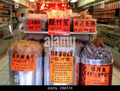 Chinese food ingredients inside a supermarket in China Town, Vancouver, British Columbia, Canada. - Stock Photo