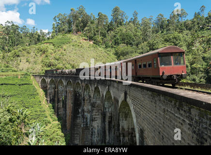 Train on Nine Arches Bridge near Ella, Hill Country of Sri Lanka - Stock Photo