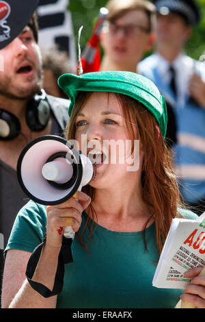 Bristol, UK. 30th May, 2015. A protester is pictured taking part in the march and demonstration in Bristol,the protest - Stock Photo
