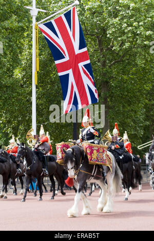 Mounted band of the Household Cavalry at Trooping the Color Mercury the Drum Horse of the Life Guards and Blues - Stock Photo