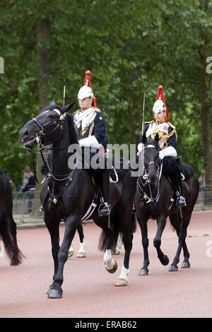 Blues and royals household Cavalry for Trooping The Colour The Mall  London UK. - Stock Photo