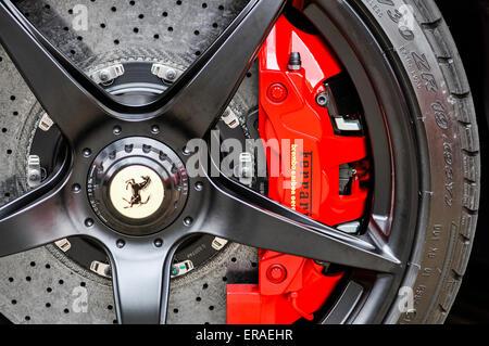 Brembo ceramic brakes on a Ferrari LaFerrari (F150) hybrid supercar - Stock Photo