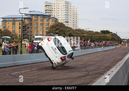 Bournemouth, UK 30 May 2015. The second day of the Bournemouth Wheels Festival. For the finale Paul Swift drives - Stock Photo