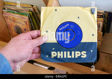 THE NETHERLANDS - MARCH 2015: Philips 45 rpm single record found in a second hand store. Philips Records is a record - Stock Photo