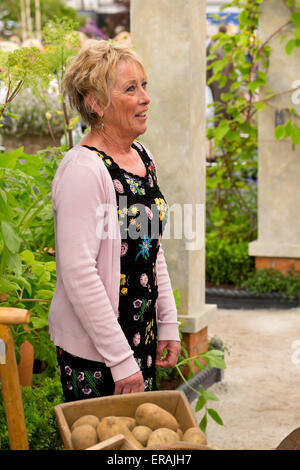 BBC presenter Carol Klein at the RHS Chelsea Flower Show 2015; Chelsea, London, May 22nd 2015 - Stock Photo